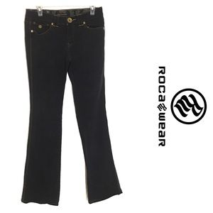 Rocawear Black Bootcut Jeans Embroidered pockets